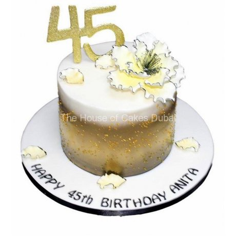 30th birthday cake in gold, black and white 7