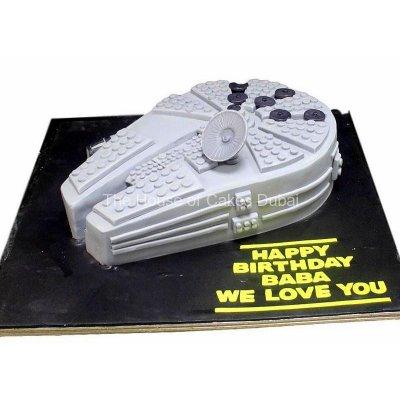 Millennium Falcon Star wars space ship cake 2