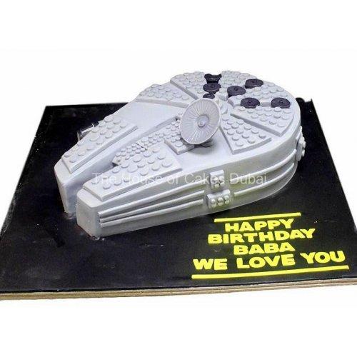 millennium falcon star wars space ship cake 2 7