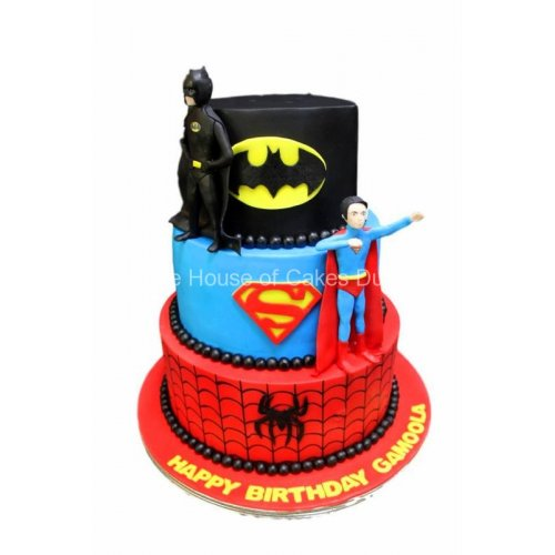 Batman, Superman and Spiderman cake 3