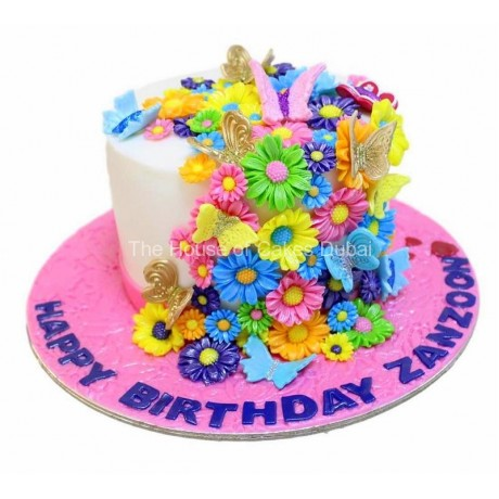 Flowers and butterflies cake 5