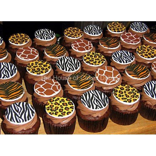 Jungle animals prints cupcakes