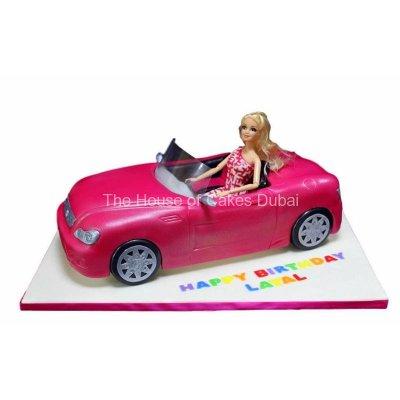 Barbie in car cake