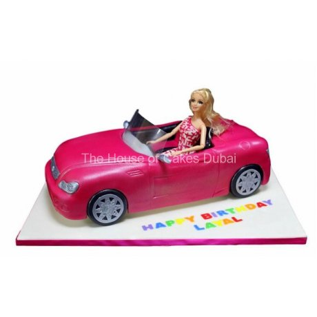 barbie in car cake 6