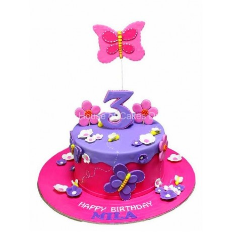 flowers and butterflies cake 4 6