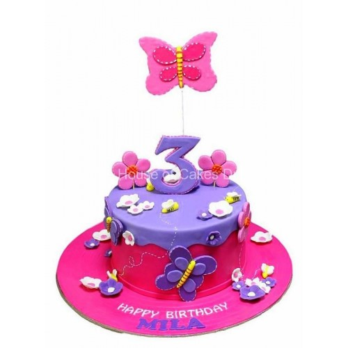flowers and butterflies cake 4 8