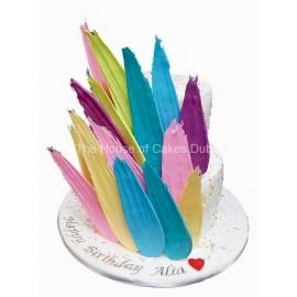 Colorful brushstrokes cake 1