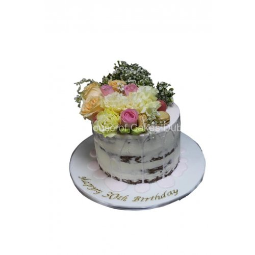 Naked cake with drip and flowers 2