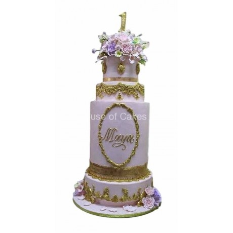 Elegant cake in lilac and gold