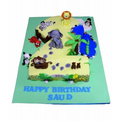 Second birthday cake with animals