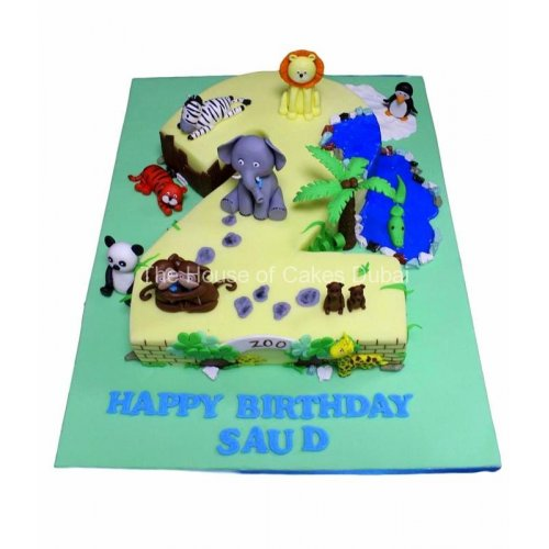 Incredible Second Birthday Cake With Animals Funny Birthday Cards Online Eattedamsfinfo