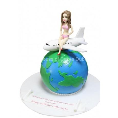 globe, plane and girl cake 6