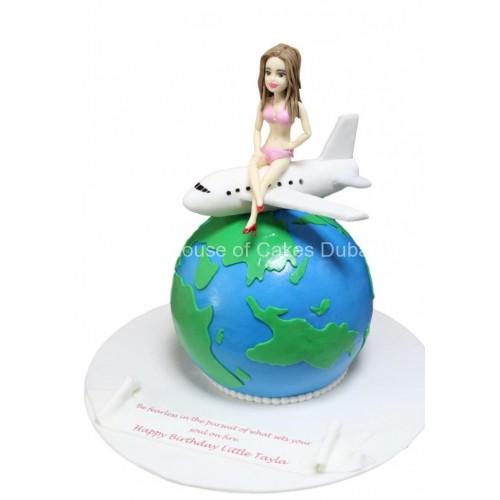 globe, plane and girl cake 7