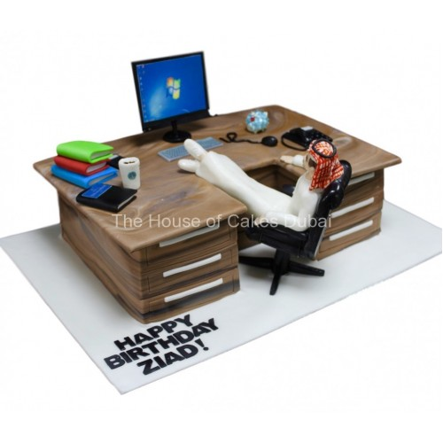 Men at work joke cake