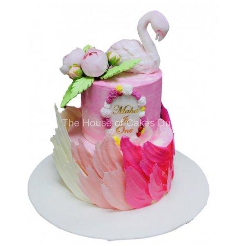 Flamingo and brushstrokes tropical cake