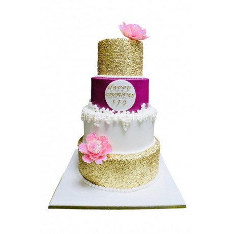 gold sequins pink and white cake 7