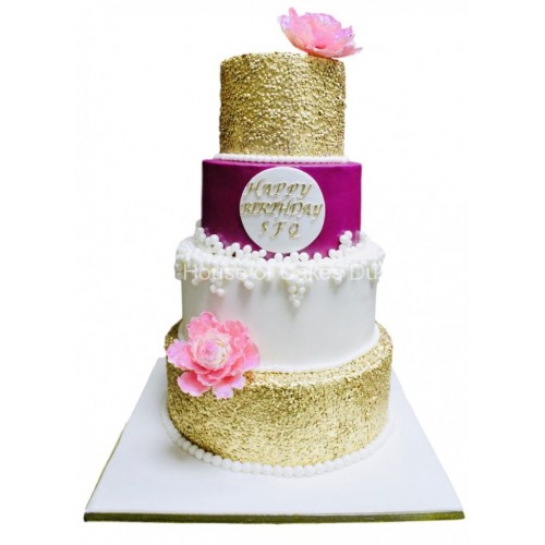 gold sequins pink and white cake 8