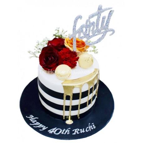 elegant 40th cake 6