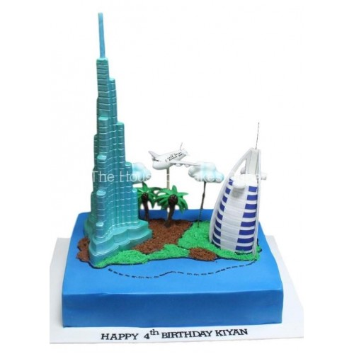 burj khalifa and burj al arab dubai themed cake 2 7