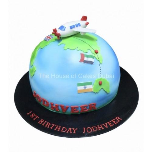 globe and plane cake 8