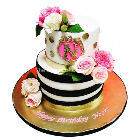 Elegant pink, white and black cake