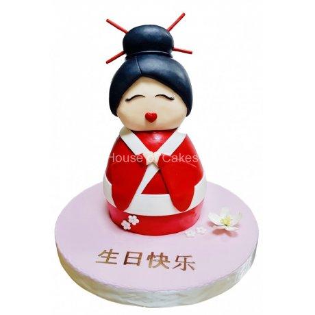 3d geisha cake 6