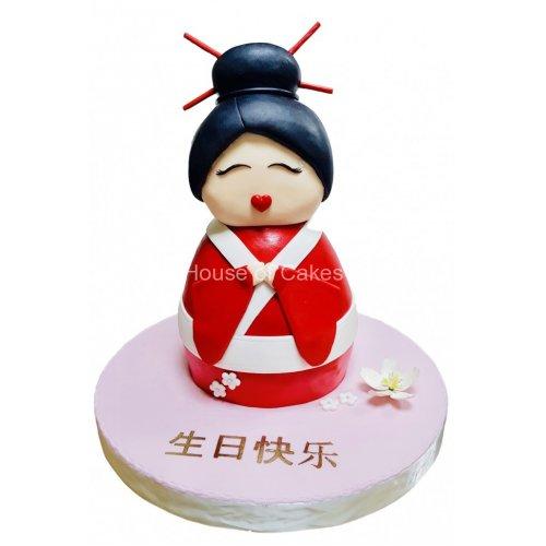 3d geisha cake 7