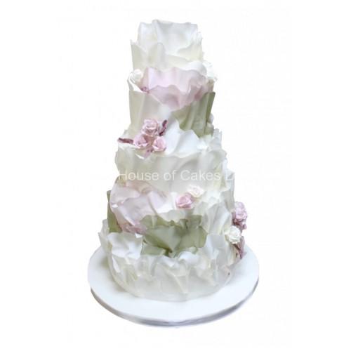 curly ruffles wedding cake 7
