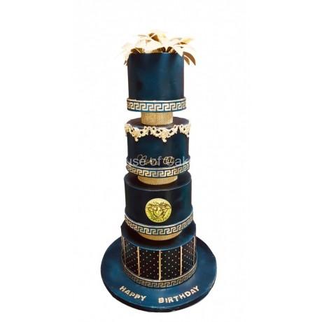 elegant versace theme cake black and gold 6