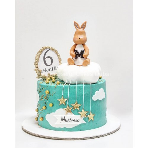 6 months smash cake with cream icing 7