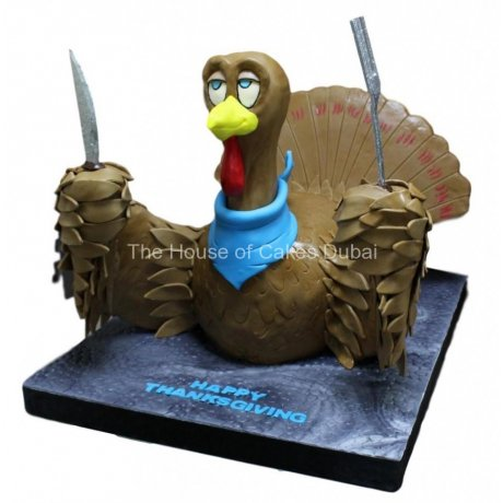 3D Turkey shaped Thanksgiving cake