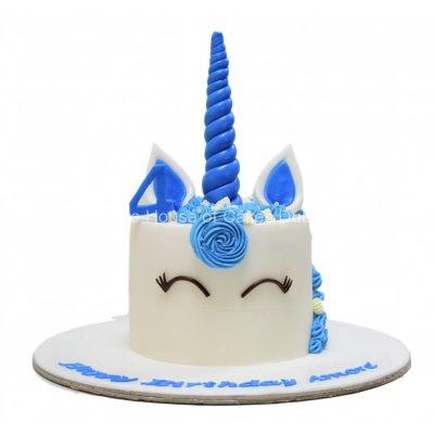 Unicorn cake with blue details