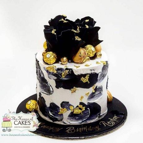 black white and gold trending design cake 6