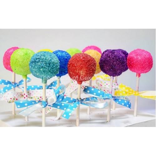 Colorful glittery cake pops