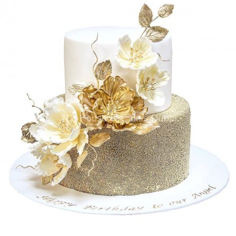 elegant cake with gold and white peonies 6