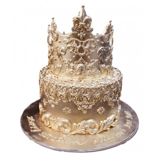 gold cake with crown 2 8