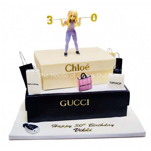 Outstanding 30Th Fashion And Shopping Theme Cake For Her In Dubai Best T Funny Birthday Cards Online Alyptdamsfinfo