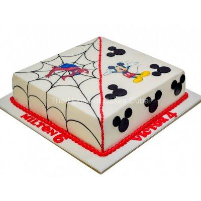 Half Spiderman half Mickey Mouse Cake