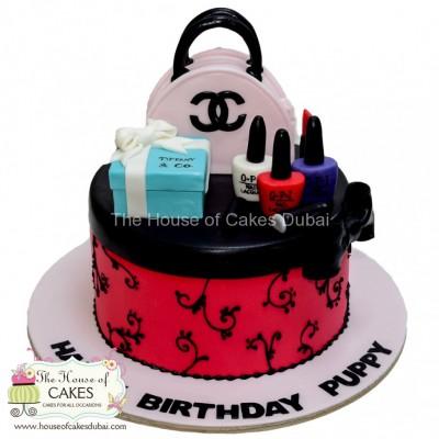 Chanel,Tiffany and make up cake