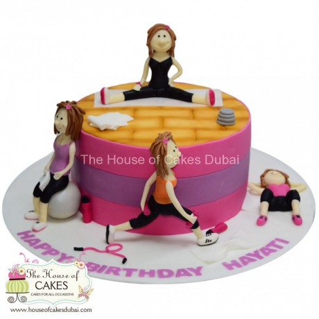 working out fitness theme cake for her 6