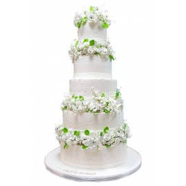 5 tier wedding cake white and green