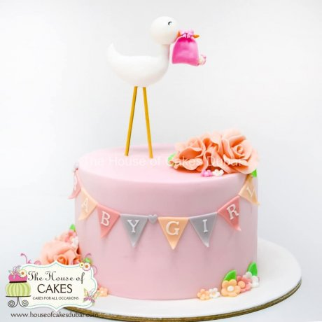 Baby shower cake with stork
