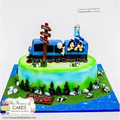 Traveller themed cake - Sri Lanka with train