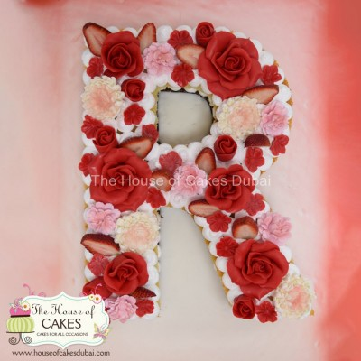 Letter R Cake with Roses