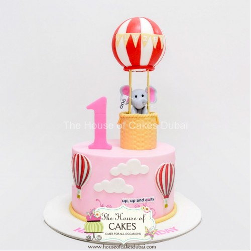 Birthday cake with elephant and balloon - pink