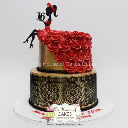 elegant gold cake with black lace and red dress 7