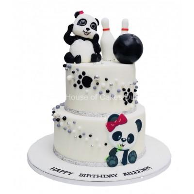 Panda and bowling theme cake