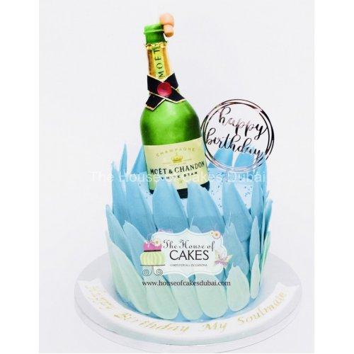 celebration cake with champagne bottle - blue 7