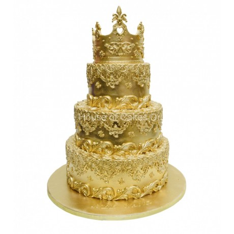 gold cake with crown 3 6