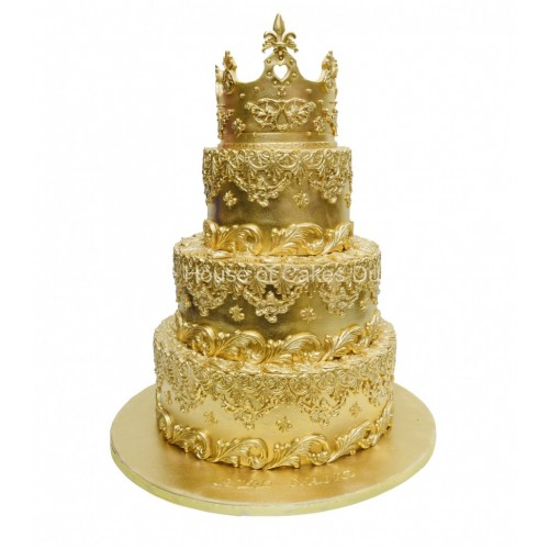 gold cake with crown 3 7